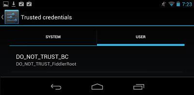 Fiddler Web Debugger - Configuring Google Nexus 7 running